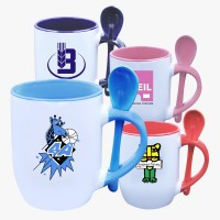 Custom Printed Mugs with Inner same Color and Spoon