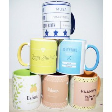 Custom Designed Mugs with Same color handle and inner part